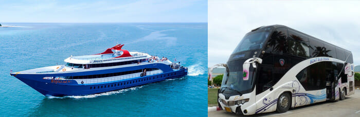 Songserm bus and ferry