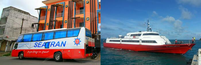 タオ島行きのシートランディスカバリーバスと高速フェリー