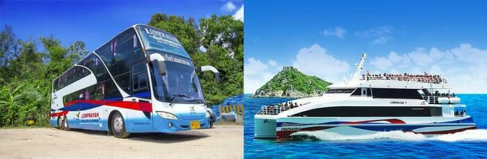 끄라비에서 코팡안 버스 및 페리 콤보 티켓