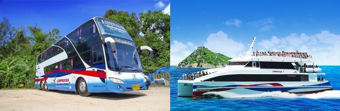 코팡안에서 방콕 페리와 버스로 이동