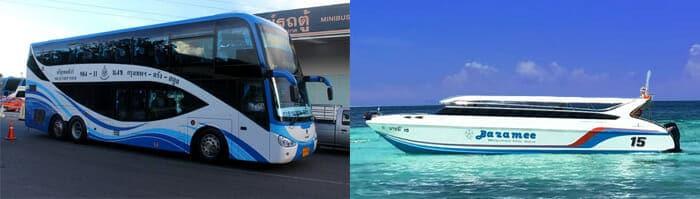 방콕에서 코리페 버스 그리고 페리로 이동